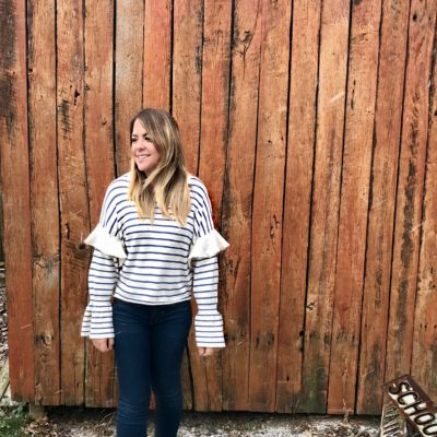 TIERED BELL SLEEVE STRIPED SWEATER